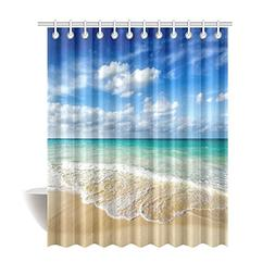 InterestPrint Beach Ocean Theme Shower Curtain, Wavy Ocean S