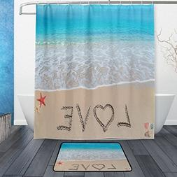 ALAZA Set of 2 Beach Ocean Theme 60 X 72 Inches Shower Curta
