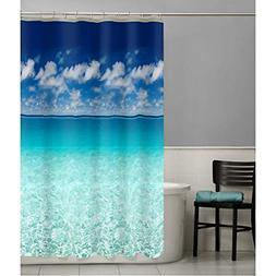 Beach Scene Shower Curtain Ocean Vinyl Photo Real Bathroom S