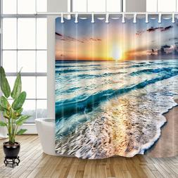 Beach Sea Wave Sunshine Waterproof Fabric Bathroom Shower Cu