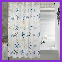 Linsam Beach Shower Curtain Hook Free, PEVA Mildew Resistant