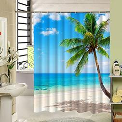 Beach Shower Curtain Palm Tree Decorative Theme,3d Po