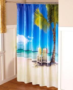 Beach Shower Curtain Tropical Bath Decor Just Beachy Island