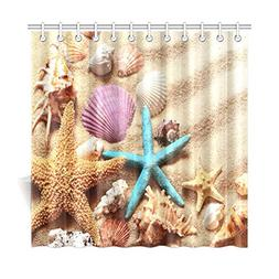 InterestPrint Beach Theme Bathroom Shower Curtain, Seashell