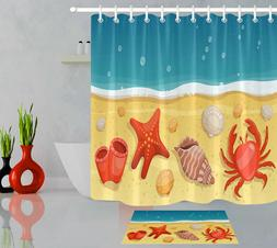 Beach With Sea Shells Crab Shower Curtain Liner Waterproof F