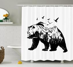 Ambesonne Bear Shower Curtain, Mammal Silhouette with Mounta