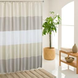 Bathroom Beige Shower Curtain Stripes Sets Men Women Brown B