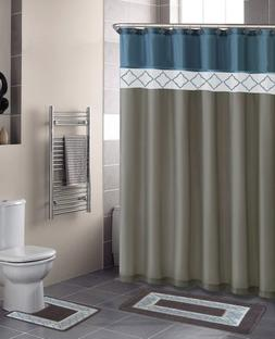 New Beige Blue Diamonds, Contemporary Bath Shower Curtain 15