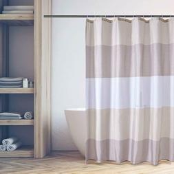 Beige Brown Tan Shower Curtain Sets Bathroom Waterproof Stri