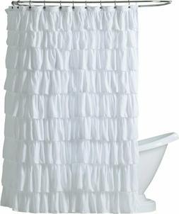 Beige Crushed Ruffle Fabric Shower Curtain