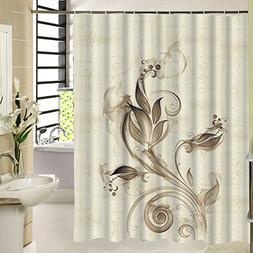 Beige Floral Shower Curtain Waterproof Polyester ,Vintage Ar