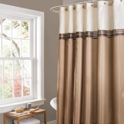 Lush Decor Beige/Ivory Terra Color Block Shower Curtain Fabr