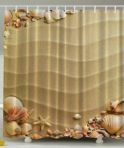 Ambesonne Beige Shower Curtain, Nautical Beach Tropical Hawa