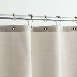 Aimjerry Beige White Heavy Duty Fabric Shower Curtain for