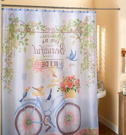Bicycle Shower Curtain Floral Fabric Bathroom Vintage Bike B
