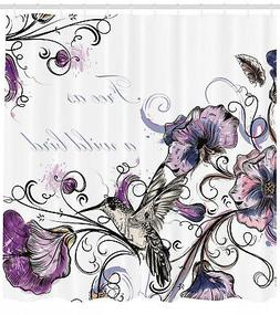 Bird Shower Curtain Ornate Flowers Leaves Print for Bathroom