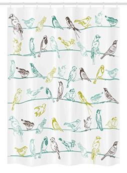 Ambesonne Birds Stall Shower Curtain, Various Type of Birds