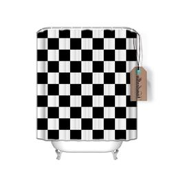 Black and White Checkers Pattern Bath <font><b>Shower</b></f