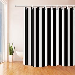 Black and white stripes Shower Curtain bath Bathroom & 12hoo