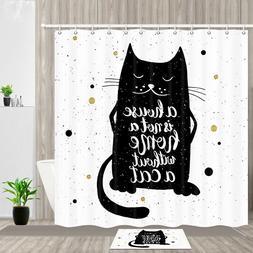 Black cat and warm home Shower Curtain Bathroom Decor Fabric