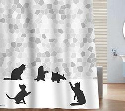 Sunlit Design Black Cat Silhouette and Gray Mosaic Fabric Sh