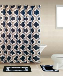 Black Lattice Geometric 15 Pcs Modern Shower Curtain with Ho