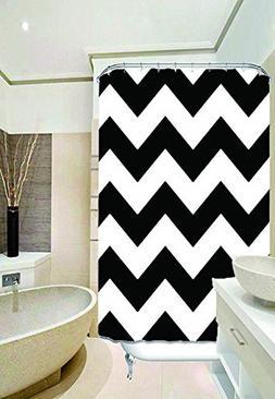 Black and White Chevron Zigzag Pattern Waterproof Bathroom S