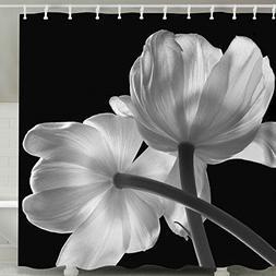 Black and White Flower Shower Curtain Set, Nature Floral Dec