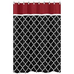 "72""x72"" Black White Moroccan Trellis Pattern Shower Curtain,"