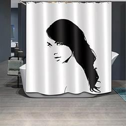 LB Black White Design Sexy Woman Natural Hair Shower Curtain