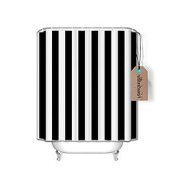 Black and White Striped Fabric Shower Curtains Bathroom Deco