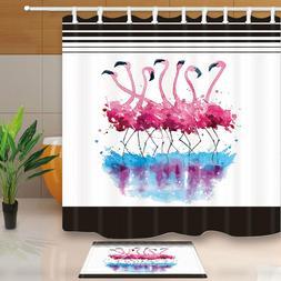 Black White Stripes Pink Flamingos Shower Curtain Bathroom &