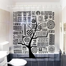 Black and White Tree Shower Curtain | Aztec Ethnic Design |