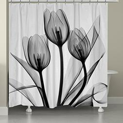 """Laural Home black and White Tulips Shower Curtain, 71"""" x 74"""""""