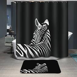 Antart Black-and-white Zebra Shower Curtain 71x71 Inch and M