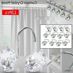 Bling Acrylic Shower Curtain Hook Rhinestones 12pcs/Set Crys