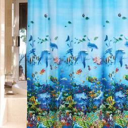 Blue Bathroom Waterproof Fabric Ocean Dolphin Pattern Shower