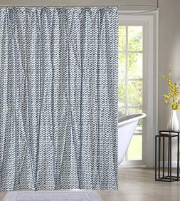 """Style Quarters Blue Batik Pintuck Shower Curtain 72""""W x 72""""L"""