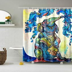 Blue Elephant Shower Curtain for Bathroom,BIOSTON Digital Ar