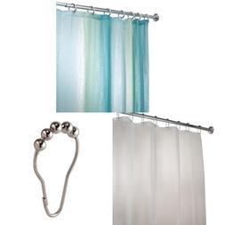 InterDesign Blue/Green Ombre Shower Curtain Bundle