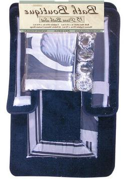 Blue Navy Sea Shells 15 Pcs Shower Curtain with Hooks Bathro
