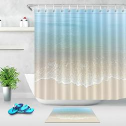 Blue Ocean Shower Curtain Beach Bathroom Fabric Liner Set 71