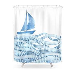 Society6 Blue Sailboat, Watercolor Nautical Ocean Waves Sea