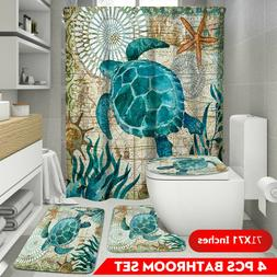 Blue Sea Turtle Shower Curtain or Bath Mat Toilet Cover Rug