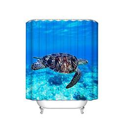 Blue Sea Turtles Print Waterproof/Mildew Resistant Fabric Sh