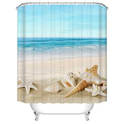 Jibin Bong 72 X 72 Inch Blue Sky Tropical Beach Shower Curta