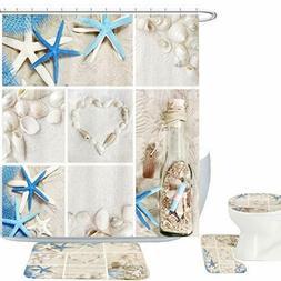 Amagical Blue Starfish Seashell Conch 16 Piece Shower Curtai