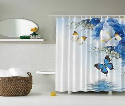 Blue White Yellow Butterflies Flowers Fabric Shower Curtain