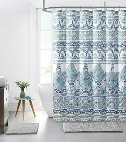 VCNY Bohemian Blue Grey Fabric Shower Curtain Colorful Flora