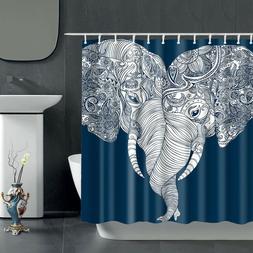 "Bohemian Elephant Shower Curtain Fabric 72"" Waterproof Bathr"